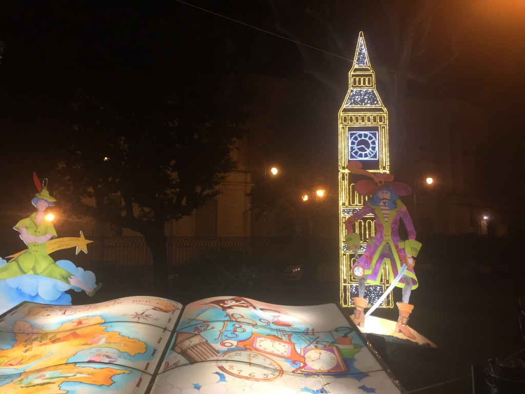 The Big Ben and a book to illustrate the Peter Pan story